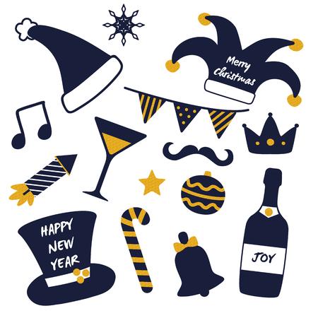Merry Christmas Happy New Year Masquerade Stuff Illustration