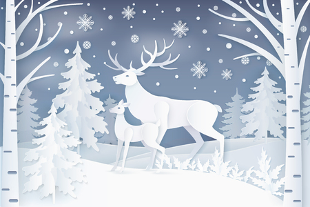 Deer in winter forest icon. Illustration