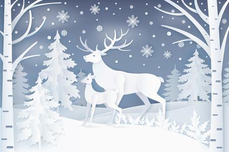 Herten in winter bos pictogram.