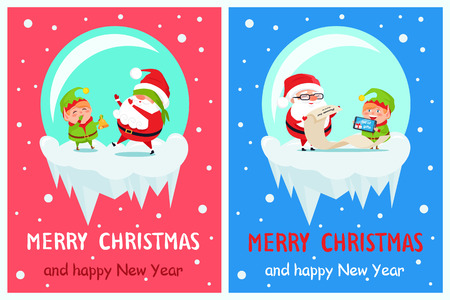 Happy New Year and Merry Xmas Postcard Illustration