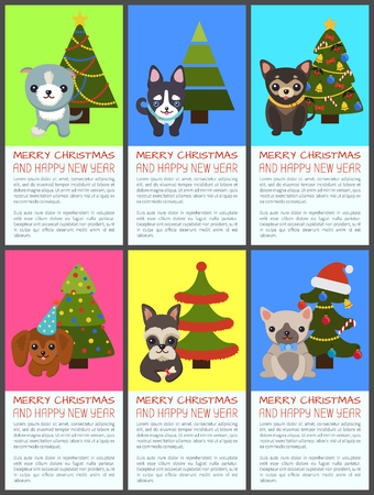 Merry Christmas and Happy New Year Pets and Spruce 版權商用圖片 - 92027198