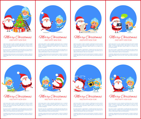 Merry Christmas And Happy New Year, Winter Set Of Funny Banners ...