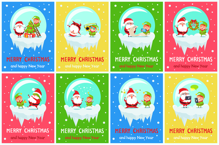 Merry Christmas Happy New Year postcard Santa Elf decor tree on ladder, listen music, holds wreath, playing hide-and-seek, sending greeting on tablet