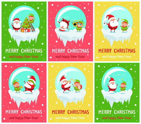 Merry Christmas and Happy New Year posters Santa and Elf in glass ball decorate tree on ladder, dance on cute music, sing carols, play trumpet vector