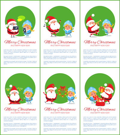 Merry Christmas and happy New Year, set of posters with informational text and Santa Claus holding wreath with Snow Maiden vector illustration
