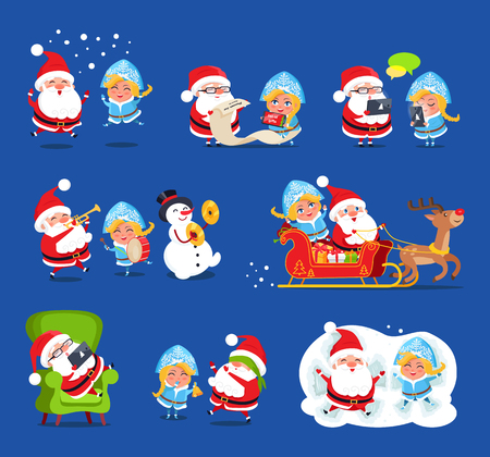 Claus and Snow Maiden having fun, playing on musical instruments, singing and reading list of kids wishes, reindeer and present vector illustration