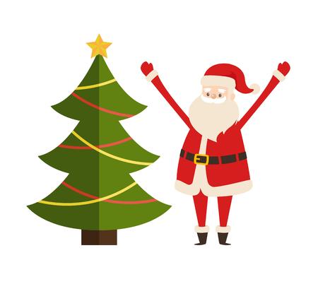 白に隔離されたスプルースモミと聖ニコラスキャラクターベクトルイラストをあしらった新年の木とサンタクロースベクトルイラストポスター