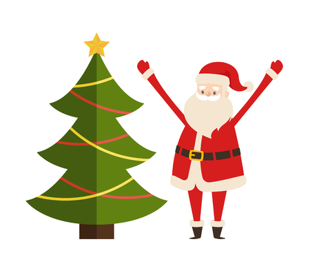 New Year tree and Santa Claus vector illustration poster with decorated spruce fir and Saint Nicholas character vector illustration isolated on white