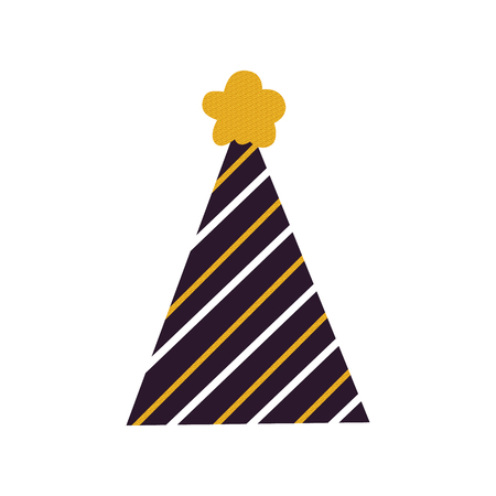 Festive colorful cone hat icon isolated on white background. Vector illustration with stripped cap with dark yellow flower on top Çizim