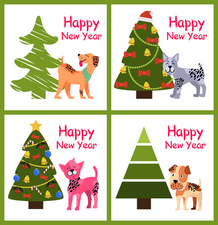 Cute cartoon dogs wishes you Happy New Year near decorated Christmas trees set of colorful posters vector illustration greeting cards isolated on white