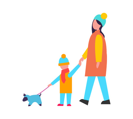 Family Walking Dog Activity Vector Illustration 일러스트