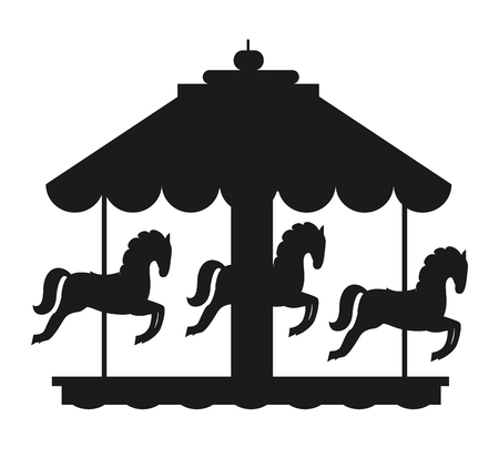 Rotating horses merry-go-round carousel black silhouette vector illustration isolated on white background. Children amusement park element