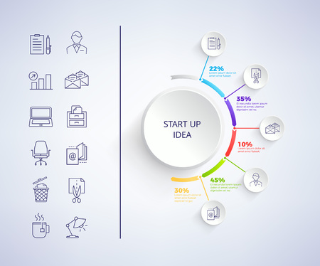 Set up idea infographic with icons in circle and text below, images of businessman, computer and e-mail, lamp and tea on left side vector illustration