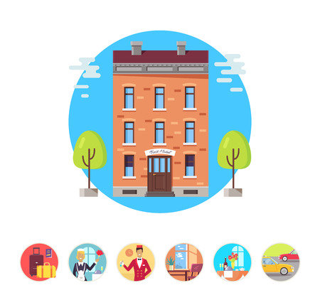 Vector illustration with hotel bellman, housekeeper and baggage for representing hotel services. Icons isolated on white background