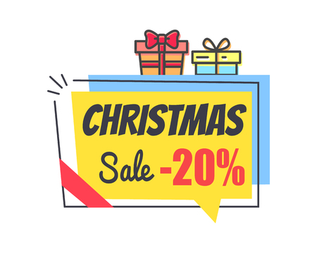 Christmas Sale Promo Label with Discount 20 Icon