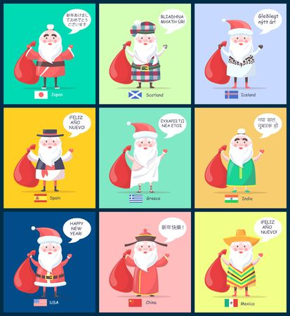 Japan and Scotland set of Santa Clauses of different nations and in various costumes and happy New Year phrase, and flags vector illustration