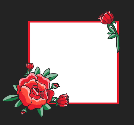 Photo frame design with handdrawn red roses with green leaves in corners and place for text vector illustration, border with blossom on black background Illustration