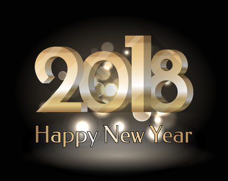Happy New Year 2018, placard with date in big fonts and letterings below, bokeh on background, greeting poster isolated on vector illustration
