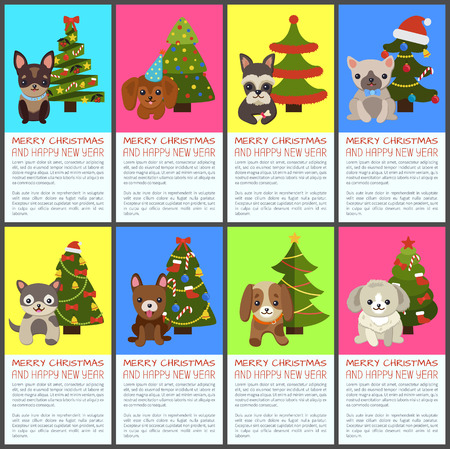 Merry Christmas and happy New Year pets and spruce set of colorful posters. Vector illustration with cute smiling dogs and decorated bright xmas trees
