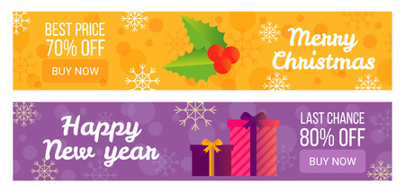 Set of sale banners best offer happy New Year, vector illustrations with sweet sticks and gift boxes isolated on colorful backgrounds with snowflakes