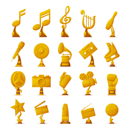 Trophy and awards collection of icons with golden objects given to winners and famous people in different fields vector illustration isolated on white