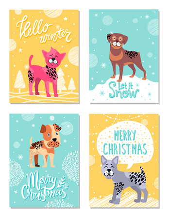 Hello winter, let it snow, merry Christmas, posters dedicated to great holiday of year, images of dogs vector illustration isolated on yellow and blue