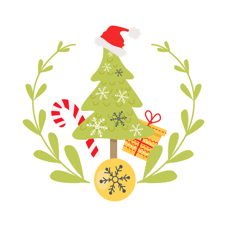 Beautiful Christmas badge on white background. Vector illustration of icon surrounded by green wreath and yellow ball with snowflake. In centre of image green fir tree with hat cane and present.