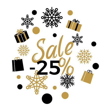 Winter holidays discounts concept with snowflakes, gifts, shopping bags in black and gold colors with lettering on white. Christmas and New Year sale logo with gilded elements for seasonal promotions