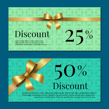 Discount 25 50 gift certificate promo poster with present sales on cards vector illustration posters isolated on blue and green abstract backgrounds Illustration