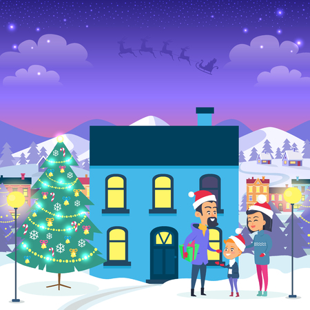 Happy family near blue house and decorated Christmas tree. Vector illustration of cartoon three people in Santa Claus red hats and warm winter clothes outside in evening spend winter holidays