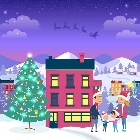 Happy Family and Fir Tree on Night City Background Ilustração