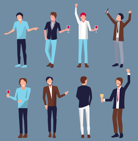 Set of men partying and holding glasses with alcoholic drink in their hands vector illustration