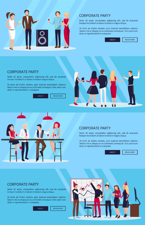 ベクトルイラストレーション上の4つの企業パーティーセット