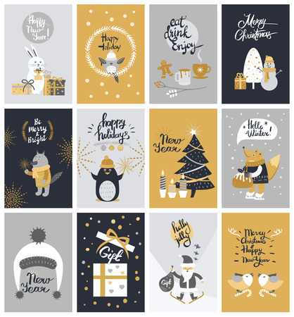 Collection of Twelve Colourful Christmas Pictures Stock Illustratie