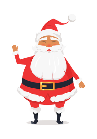 Waving Happy Santa Claus on White Background.