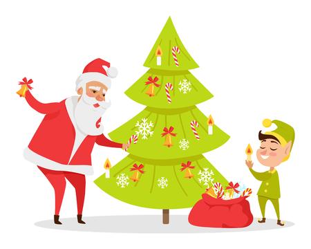 クリスマスツリーデコレーションウェブバナー。ベクトルイラストレーション
