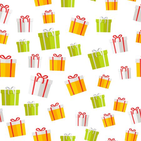 Colorful Giftboxes Vector Cartoon Seamless Pattern Ilustração