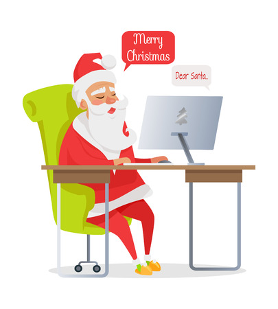 Merry Christmas Banner of Santa Mail Isolated Illustration
