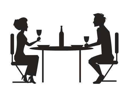 Verbinden Sie zusammen speisen und den Wein trinken, der bei Tisch mit Flasche sitzt, dunkle Schattenbilder des Mannes und Frau lokalisierten Vektorillustration Standard-Bild - 91969404