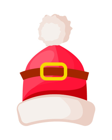 Santa Claus Hat with Buckle Isolated on White.