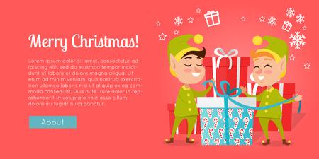メリークリスマス。ギフトボックスの近くに立つエルフ  イラスト・ベクター素材