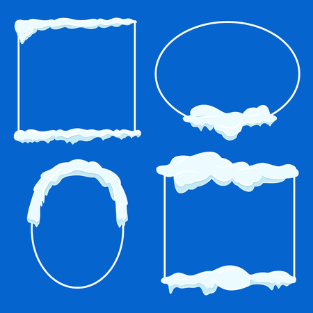 Thin Lined Frame Collection with Snow on Blue Illustration