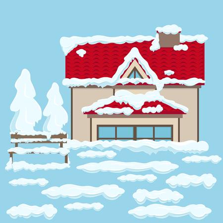 雪の下に近い赤い屋根とベンチを持つ家