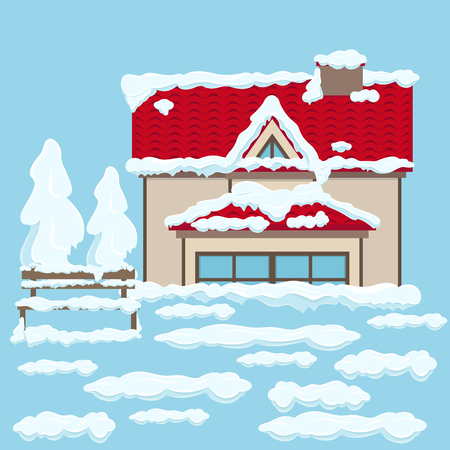 Casa con tetto rosso e panca vicino sotto la neve Archivio Fotografico - 92041393