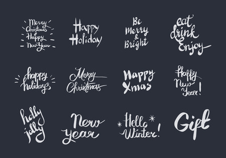 Holiday related lettering vector set Illustration