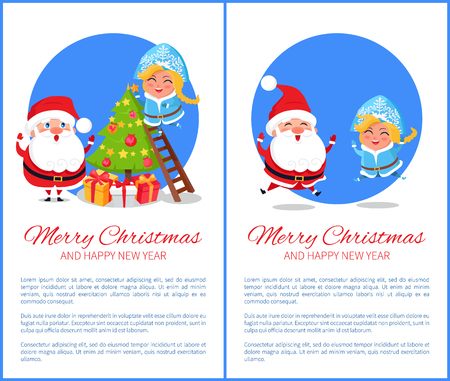 Merry Christmas and happy New Year, tree decoration made by Snow Maiden and Santa Claus, jumping characters and text sample vector illustration Ilustração