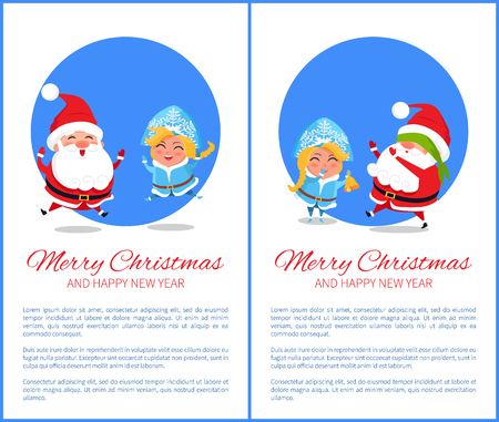 Merry Christmas and Happy New Year posters set with Santa and Snow Maiden playing hide-and-seek, jumping high with joy vector cartoon characters