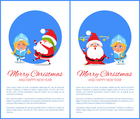 Merry Christmas and Happy New Year posters with Santa and Snow Maiden playing hide-and seek cover on eyes, searching ideas with stars over head vector Banque d'images - 91972598