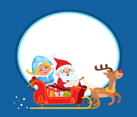Smiling Santa Claus and Snow Maide with blue eyes, bring gifts in harness sleigh with deer, against background of Moon, vector icon with frame Ilustração