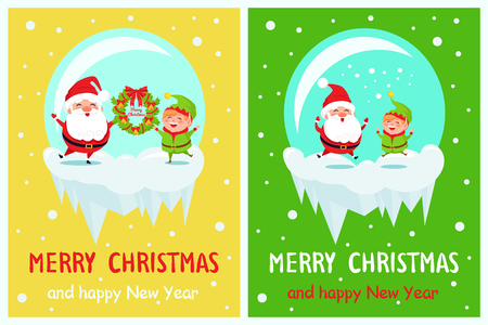 Postcard with Merry Christmas and Happy New Year Santa and Elf vector illustration Standard-Bild - 91973648